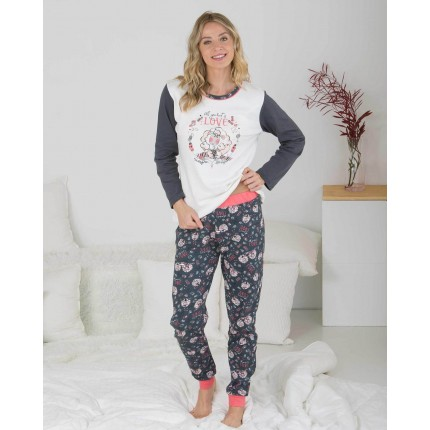 Pijama Mujer Gris Oscuro...